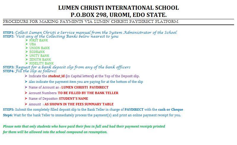 PROCEDURES FOR MAKING PAYMENTS VIA LUMEN CHRISTI PAYDIRECT PLATFORM